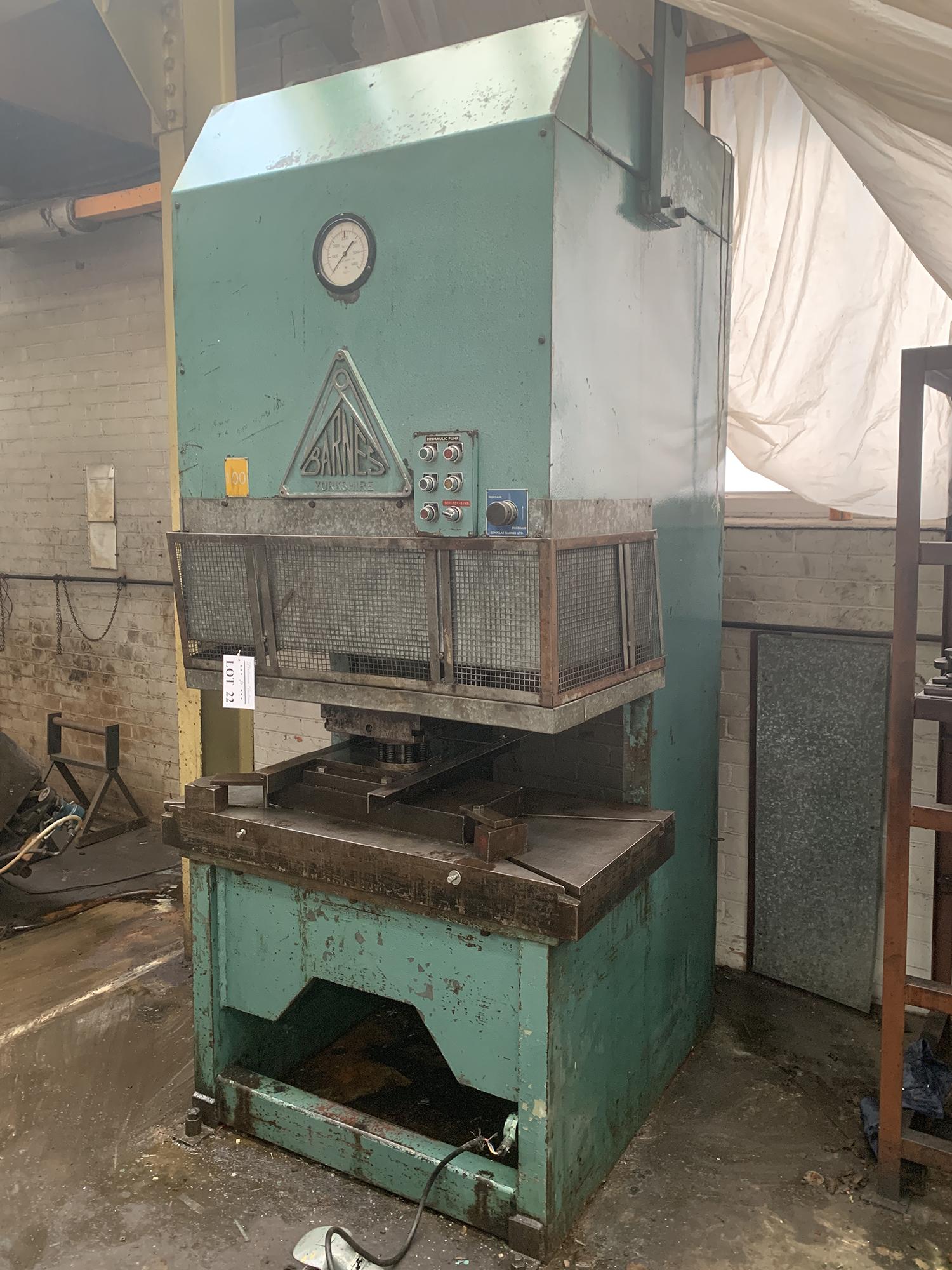 Barnes Hydraulic Press. 100 Ton Capacity. 24'' x 48'' Platen Size.