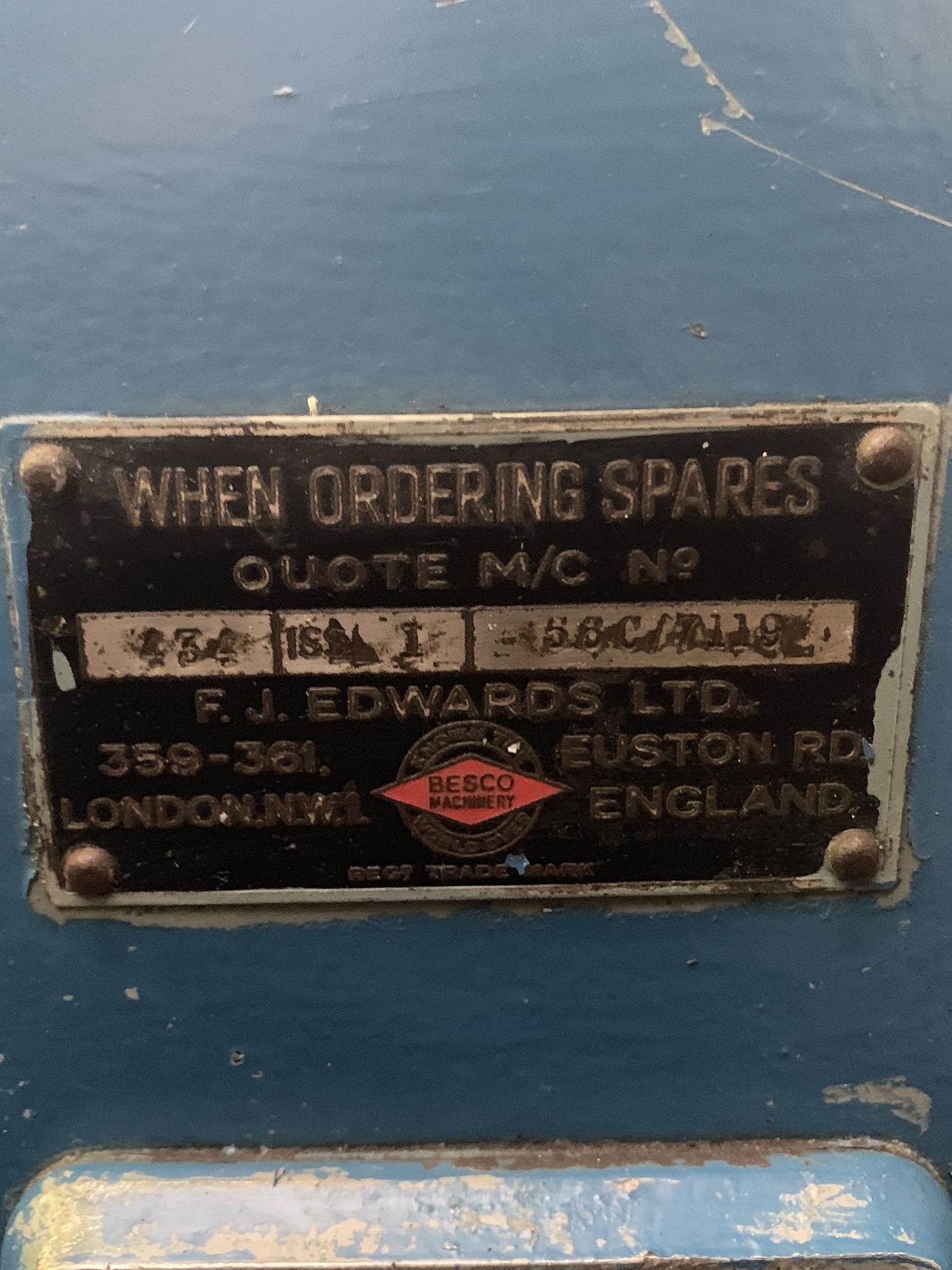FJ Edwards Seam Closing Machine. Capacity 36''. - Image 5 of 5