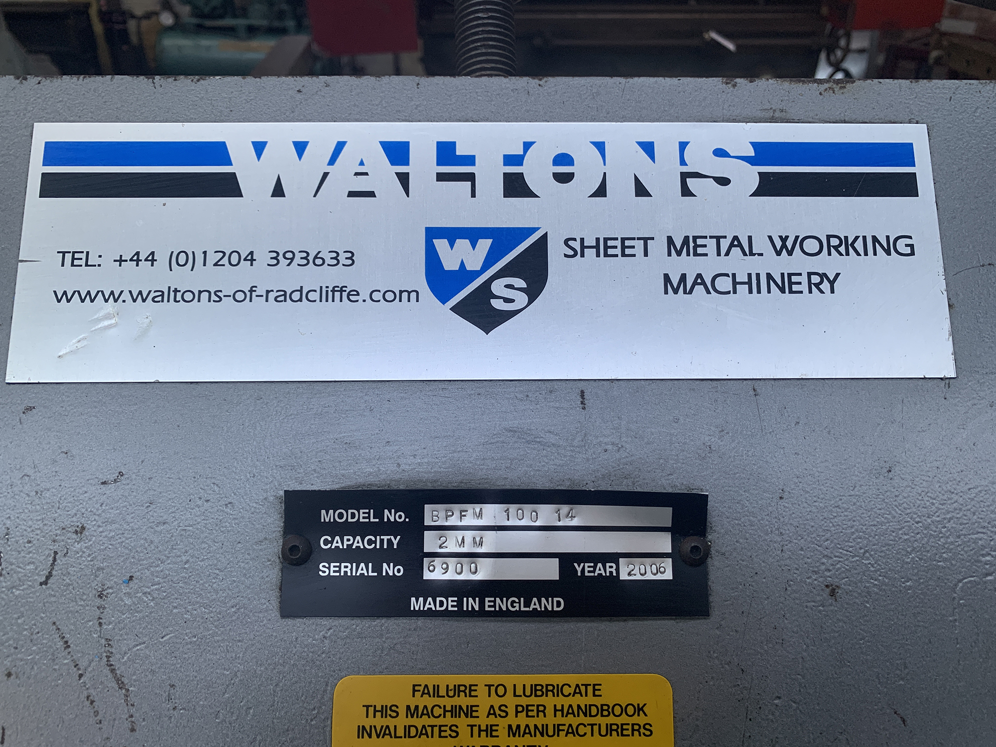 "Waltons Model BPFM 100"" x 14swg Box & Pan Folding Machine. - Image 6 of 6"
