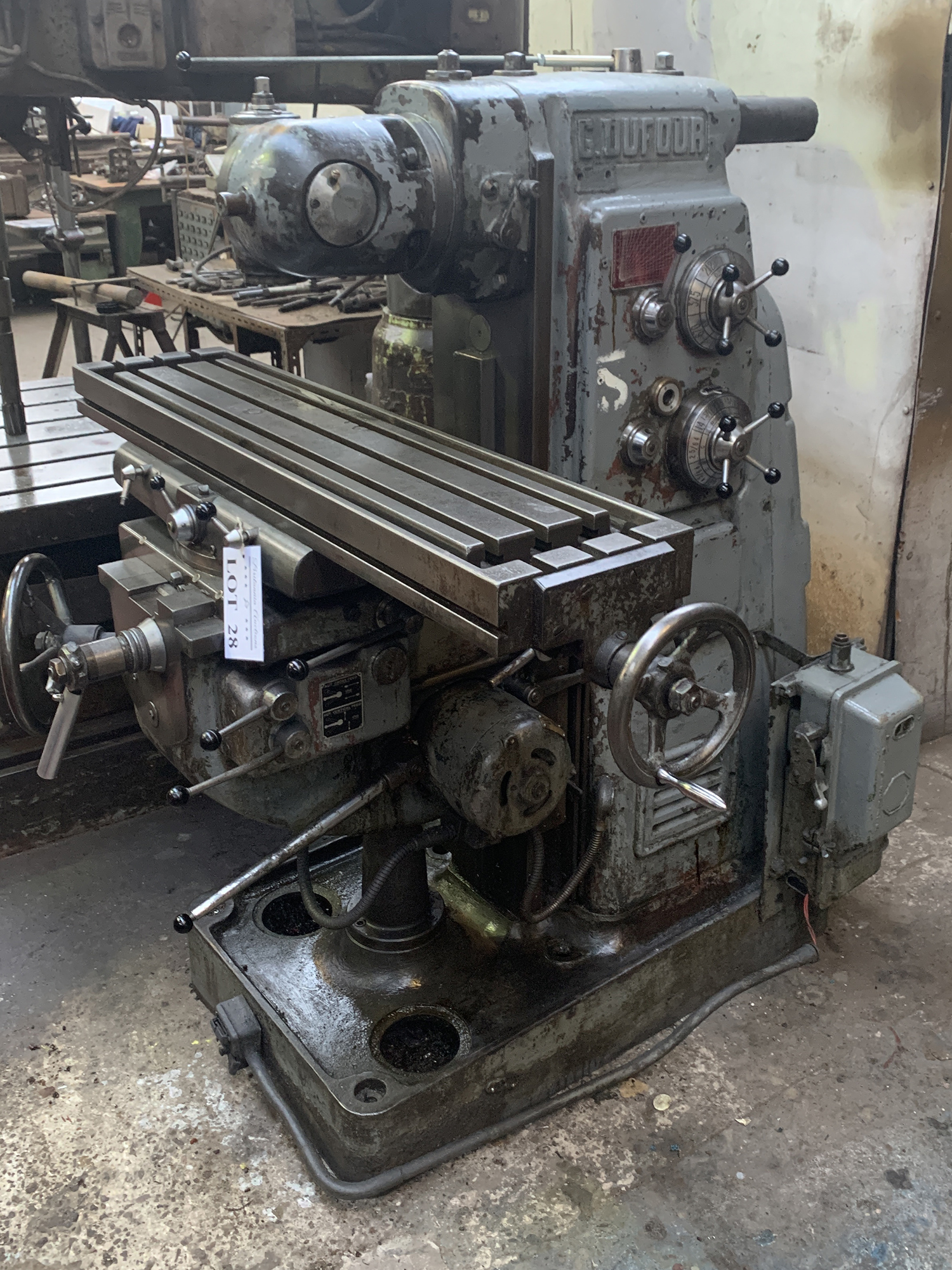 Dufour Universal Milling Machine with Double Swivel Head. Table Size 1100 x 250mm.