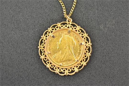 A victorian 1898 gold sovereign in 9ct gold filigree mount a victorian 1898 gold sovereign in 9ct gold filigree mount suspended on 9ct gold necklace appr aloadofball Images