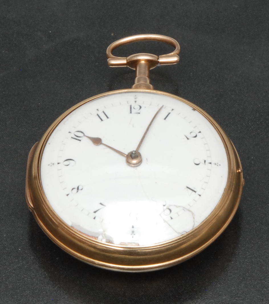 Lot 3007 - A George III 18ct gold pair cased pocket watch, Richard Brook, Poultry, London, white enamel dial,
