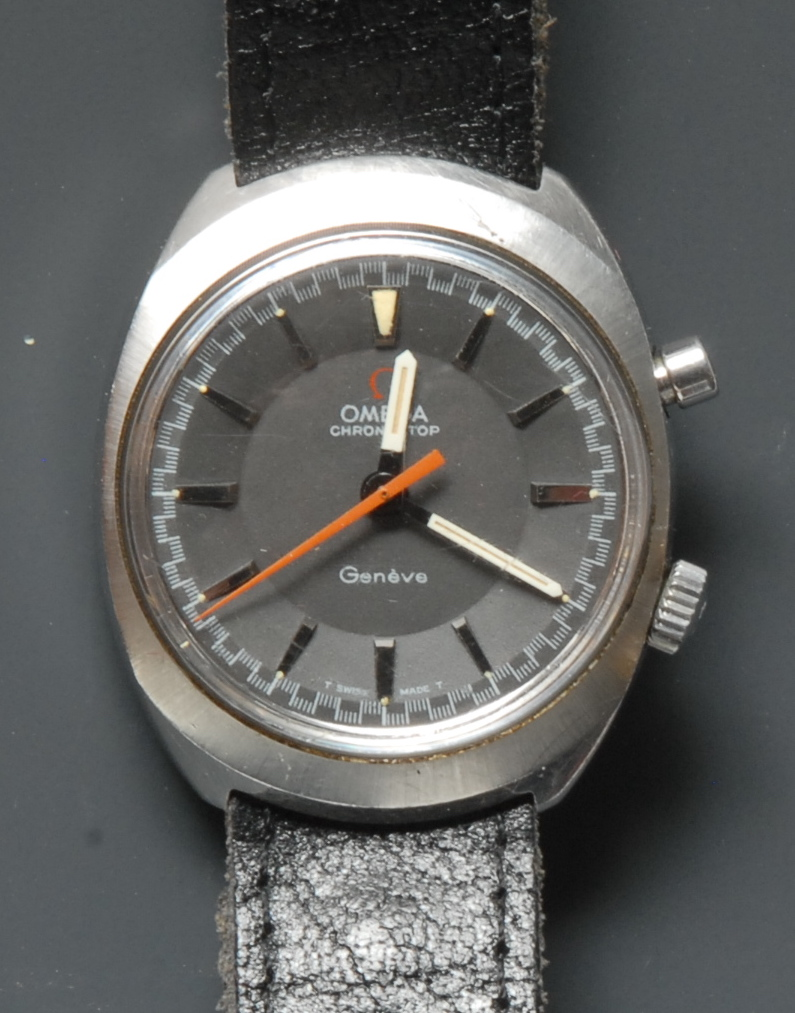 Lot 3016 - Omega - a retro 1970s Chronostop Geneve stainless steel wrist watch, two tone grey dial,