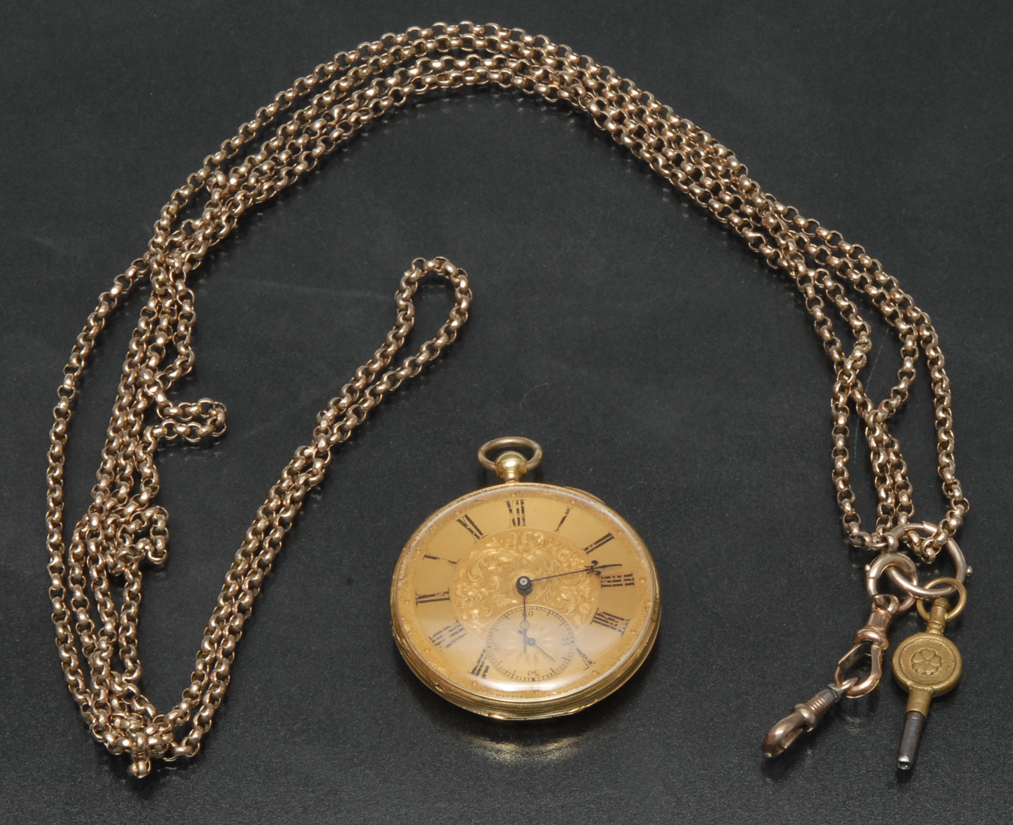 Lot 3006 - A 19th century continental yellow metal open face pocket watch, E Raffin Geneve,