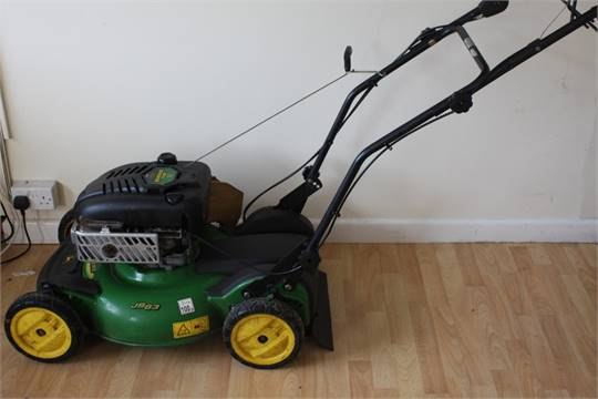 A John Deere JS63 with OHV engine, rotary mulcher lawn mower