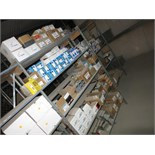 (Lot) Assorted Electrical Parts on 2 sections metal racks [mezzanine]