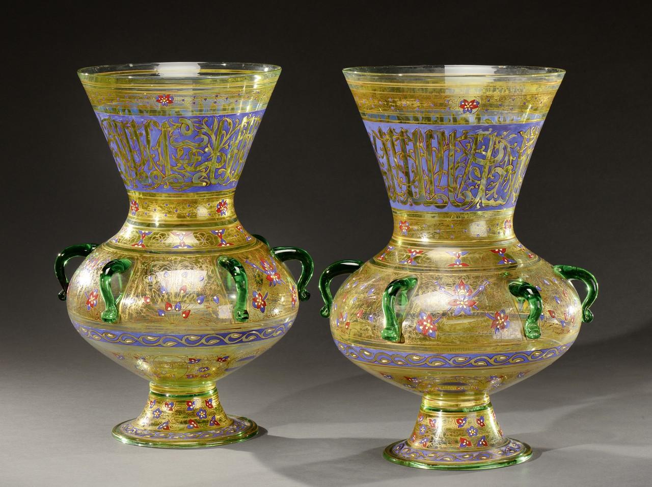 PHILIPPE-JOSEPH BROCARD (mort en 1896) Importante paire de vases en forme de lampes de mosquée