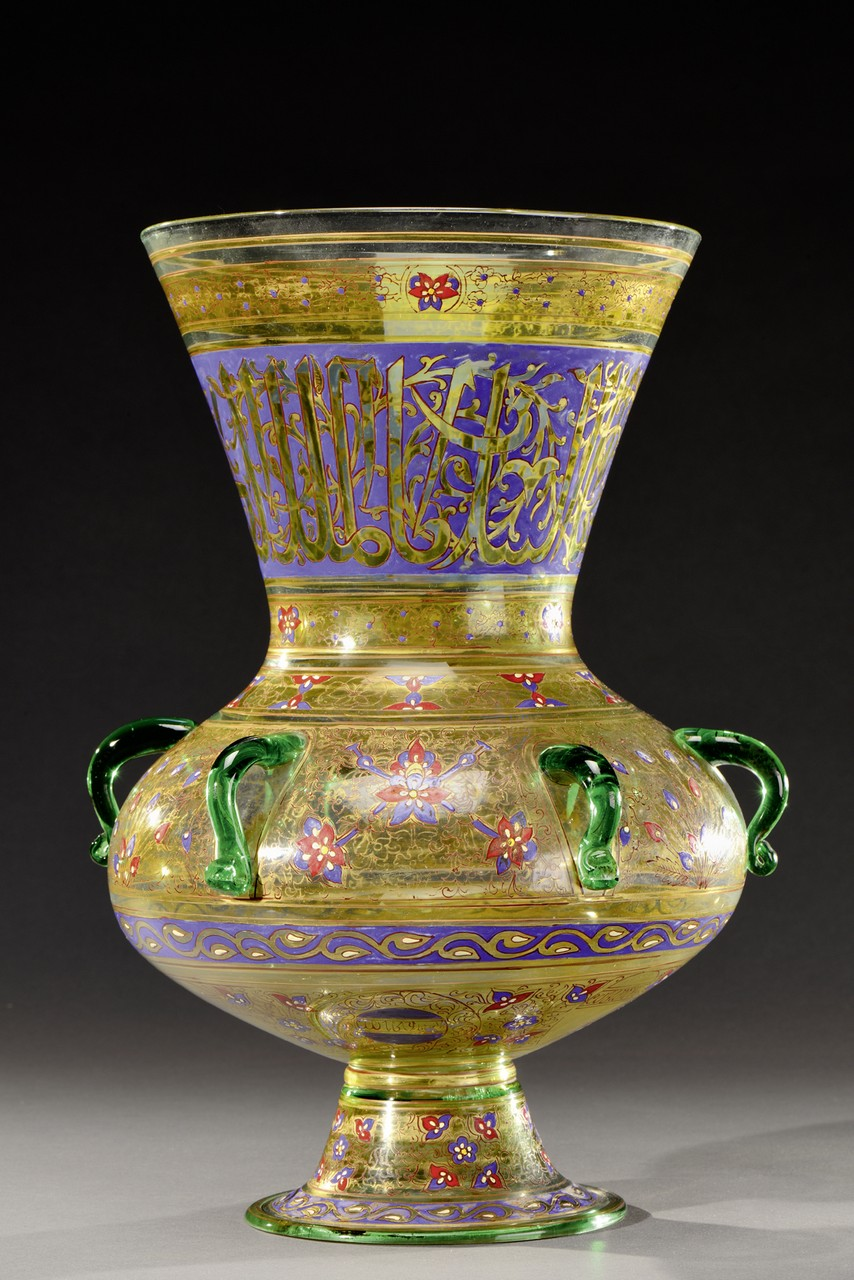PHILIPPE-JOSEPH BROCARD (mort en 1896) Importante paire de vases en forme de lampes de mosquée - Image 2 of 3