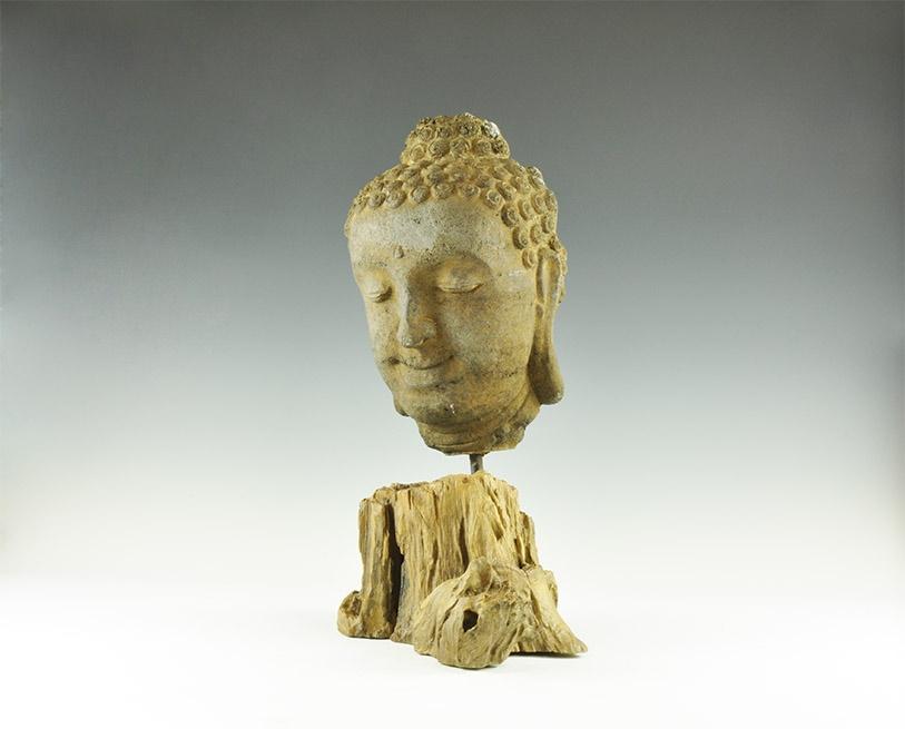 Lot 167 - Cambodian Buddha Head on Stand