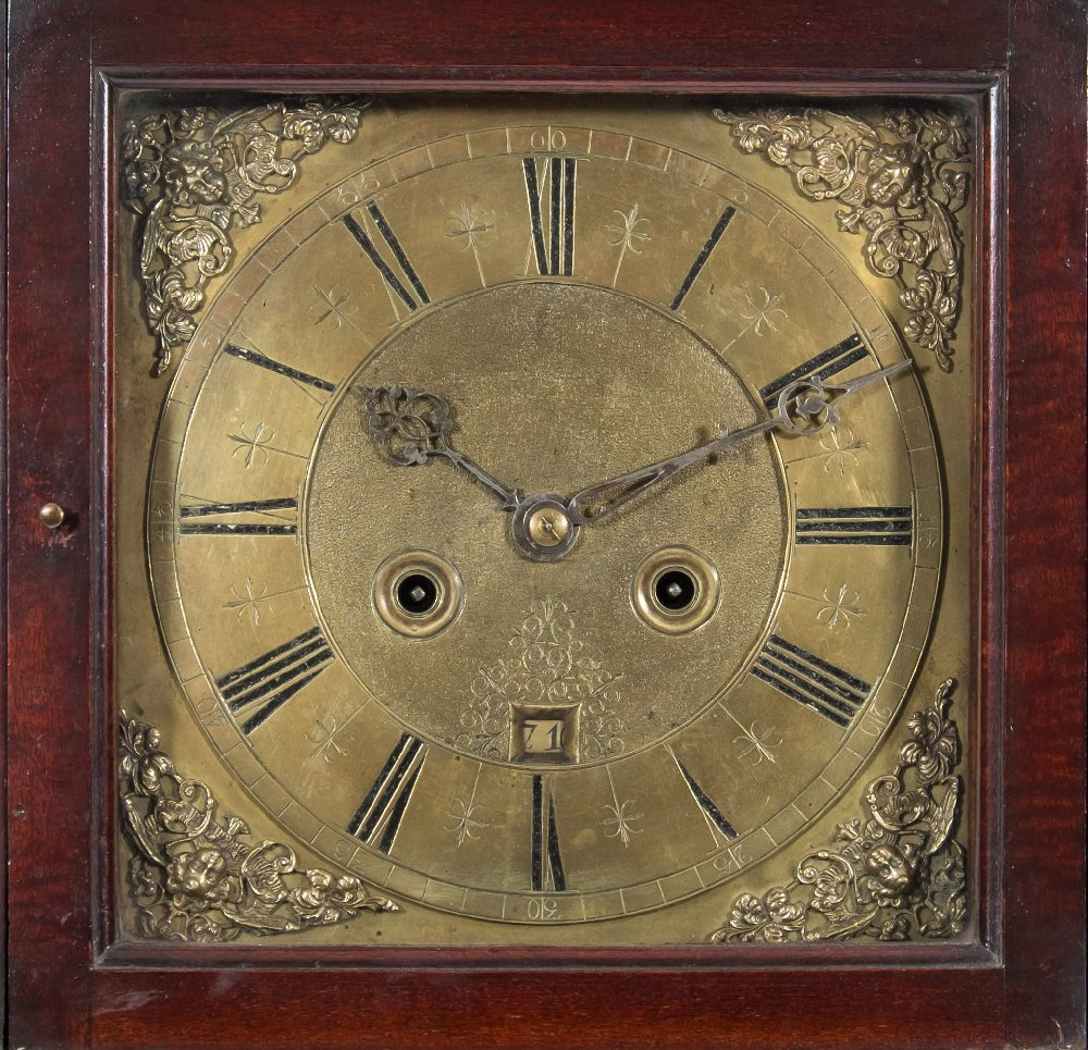 Lot 908 - A mahogany longcase clock: the unsigned early 18th century eight-day duration,