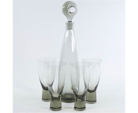 "PER LUTKEN (1916-98), FOR HOLMEGAARD, SWEDEN, a mid-century ""Artisokrat"" smoked glass decanter and 4 ""Canada"" glasses, decant"