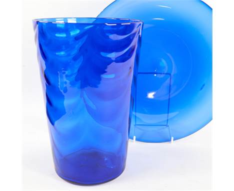 MARRIOTT POWELL FOR WHITEFRIARS, a large wave ribbed vase in sanctuary blue and plate, pre 1940, vase height 26cm.Both in goo