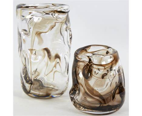 HARRY DYER FOR WHITEFRIARS, 2 streaky brown knobbly vases, 1960s', tallest 21cm.Good condition.