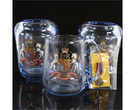 WILLIAM WILSON FOR WHITEFRIARS, 3 pieces of 1953 coronation commemorative wear, 2 thick walled sapphire glass vases, a tankar