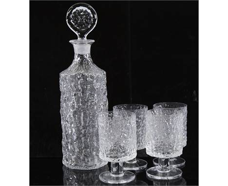 WHITEFRIARS, glacier glass cylinder decanter and 4 glasses ,decanter height 34cm.All in good condition.