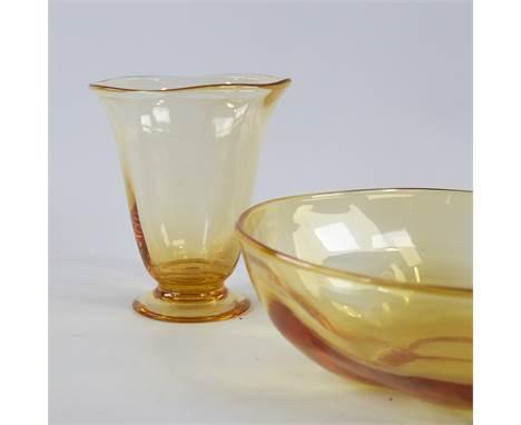 "BARNABY POWELL FOR WHITEFRIARS, BRITISH,  golden amber bowl and vase from the ""Wealdstone Range"" 1930s', bowl diameter 23.5cm"
