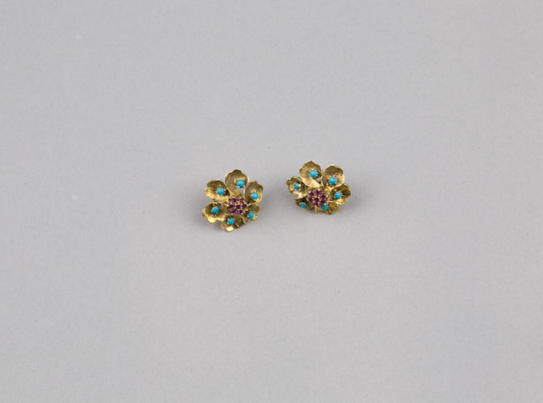 Lot 49 - A Pair of Ruby and Turquoise Earrings