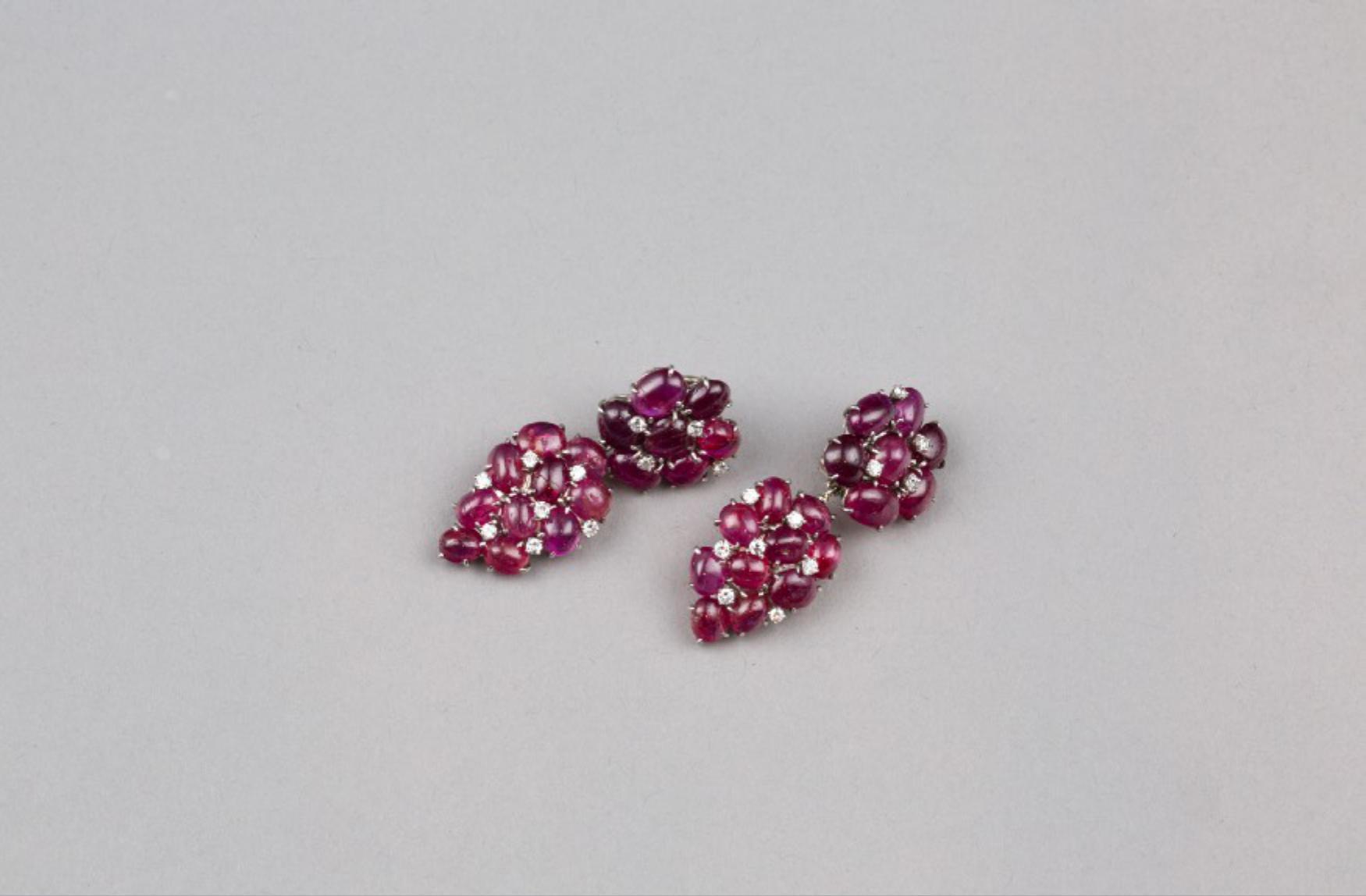 Lot 42 - A Pair of Ruby Earrings