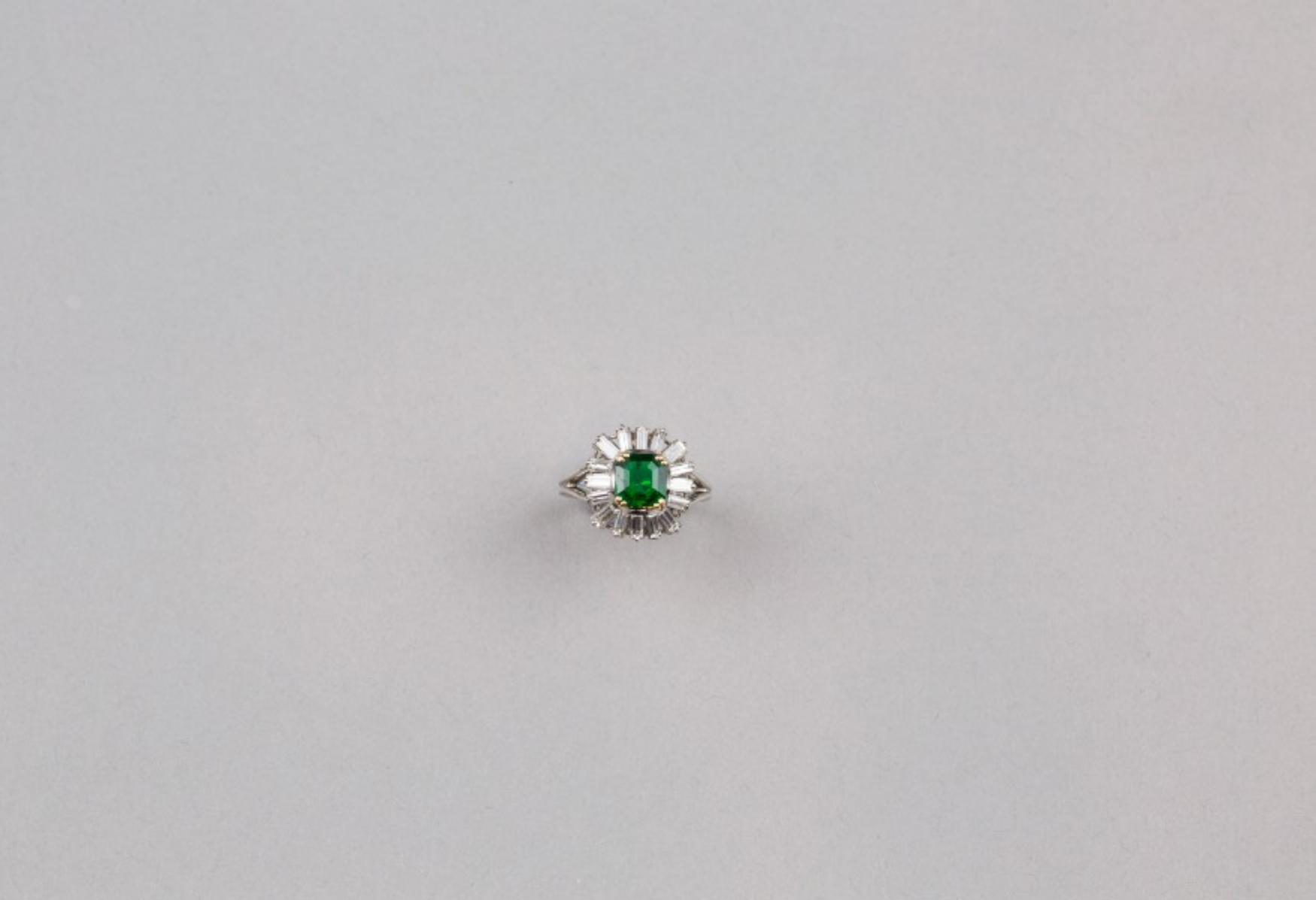 Lot 59 - An Emerald Diamond Ring