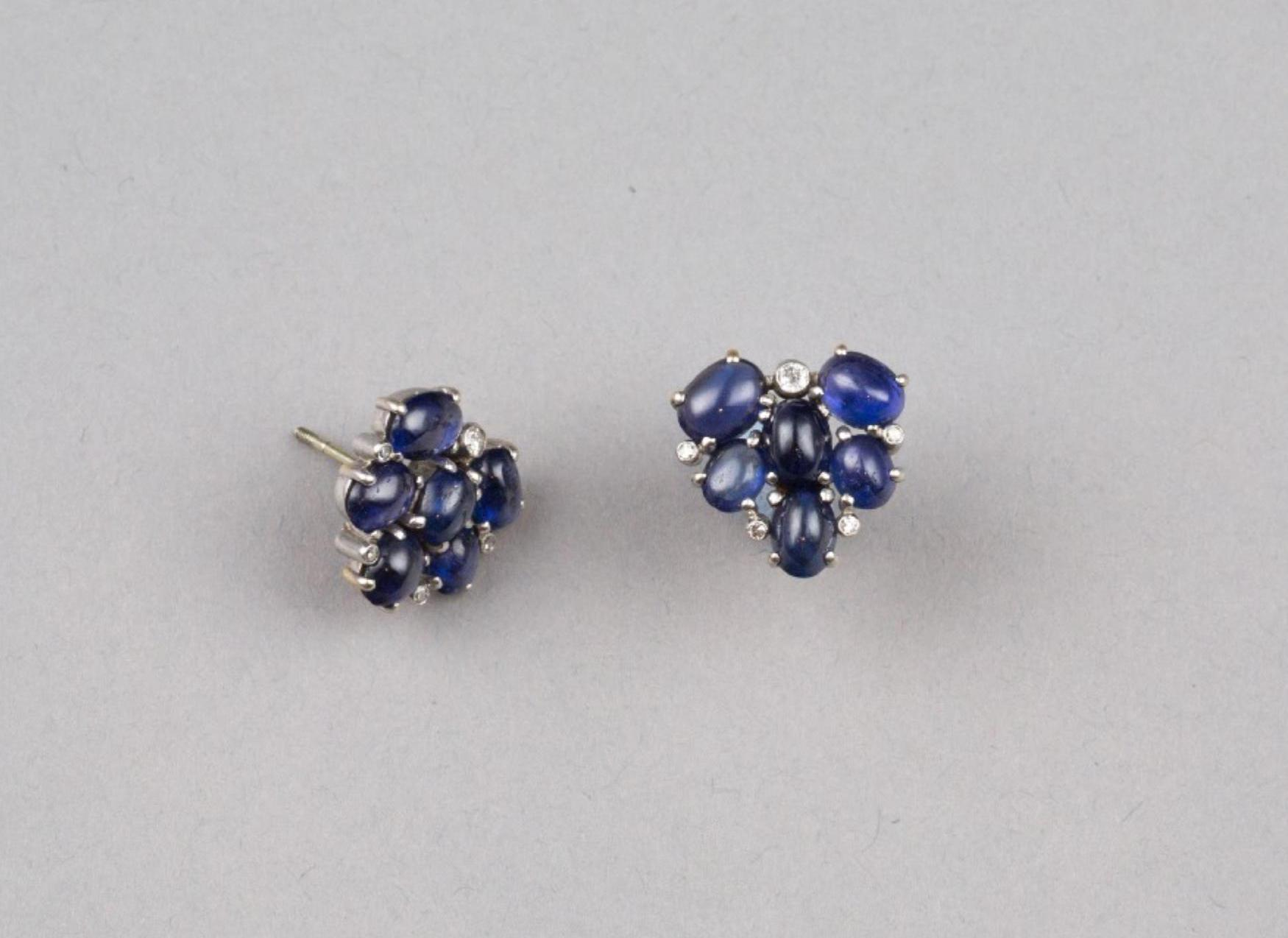 """Lot 51 - """"Purple Grapes"""" A Pair of Sapphire and Diamond Earrings"""