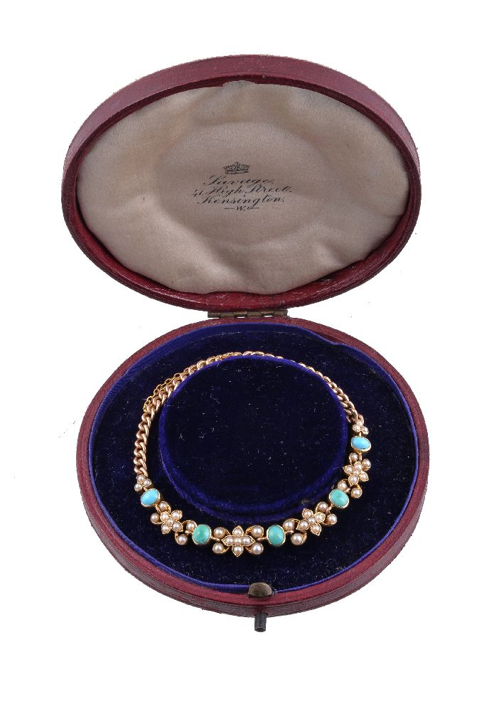 Lot 3 - An Edwardian turquoise and half pearl bracelet