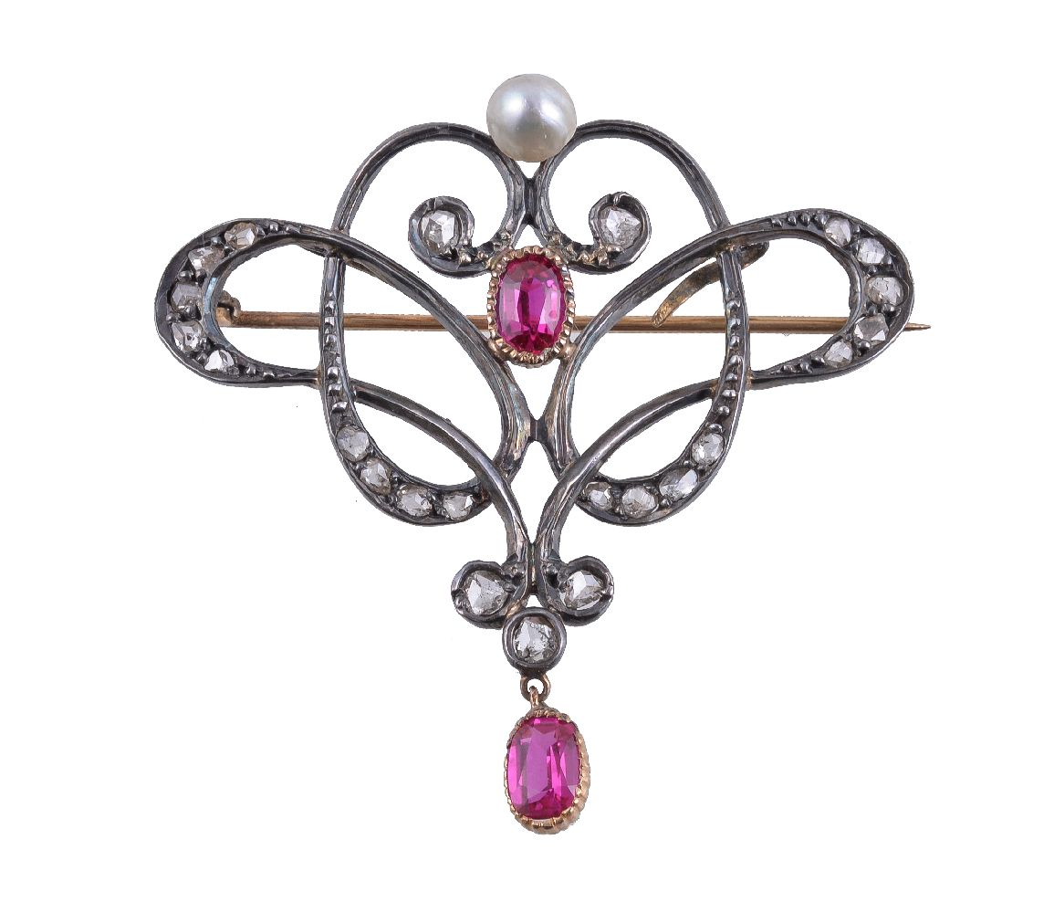 Lot 25 - A synthetic ruby, diamond and pearl brooch