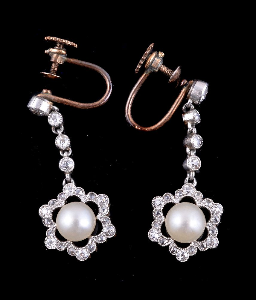 Lot 27 - A pair of early 20th century button pearl and diamond ear pendants