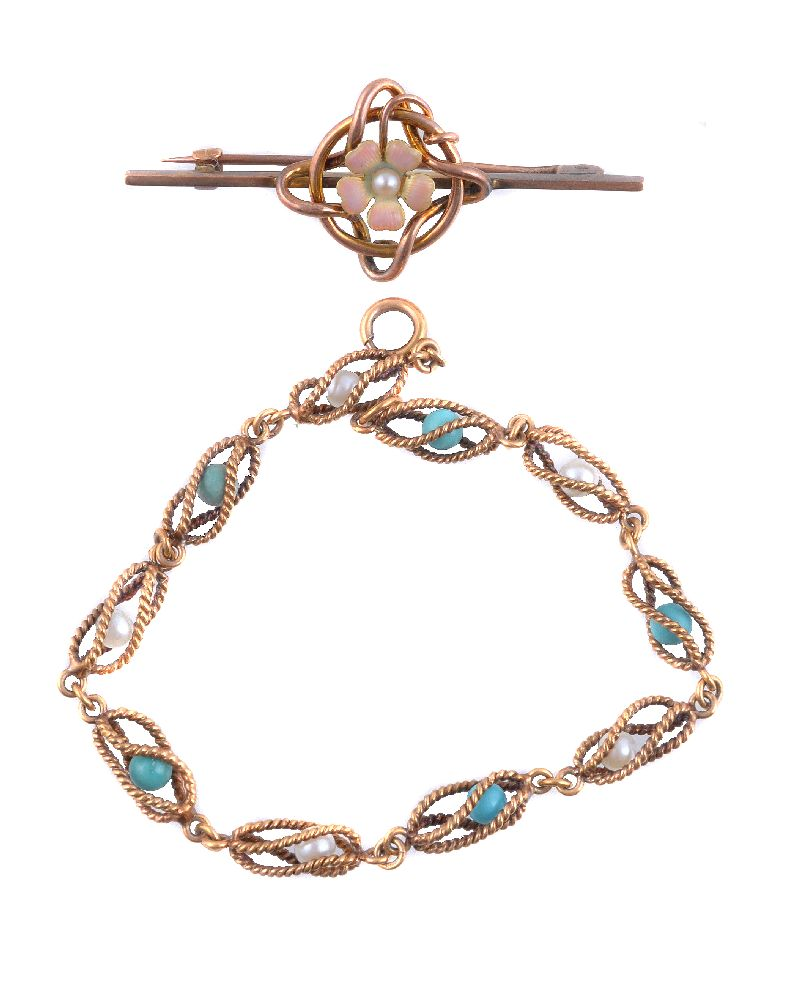 Lot 11 - A mid 20th century turquoise and cultured pearl bracelet