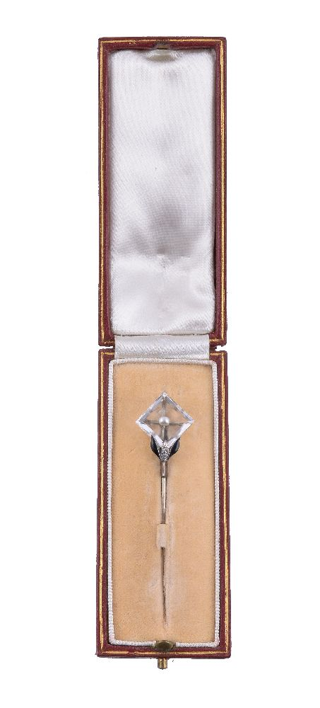 Lot 45 - A 1930s rock crystal, pearl and rose cut diamond stickpin