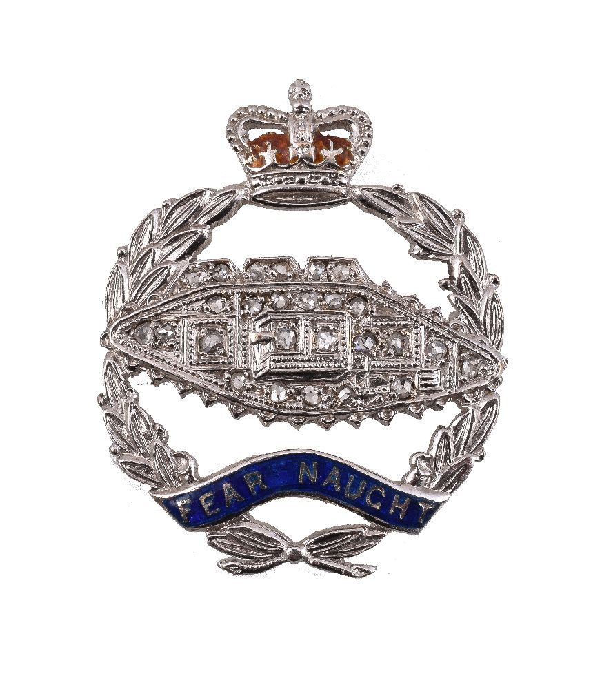Lot 39 - A Royal Tank Regiment diamond sweetheart brooch