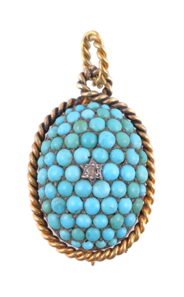 Lot 6 - A Victorian turquoise and diamond pendant