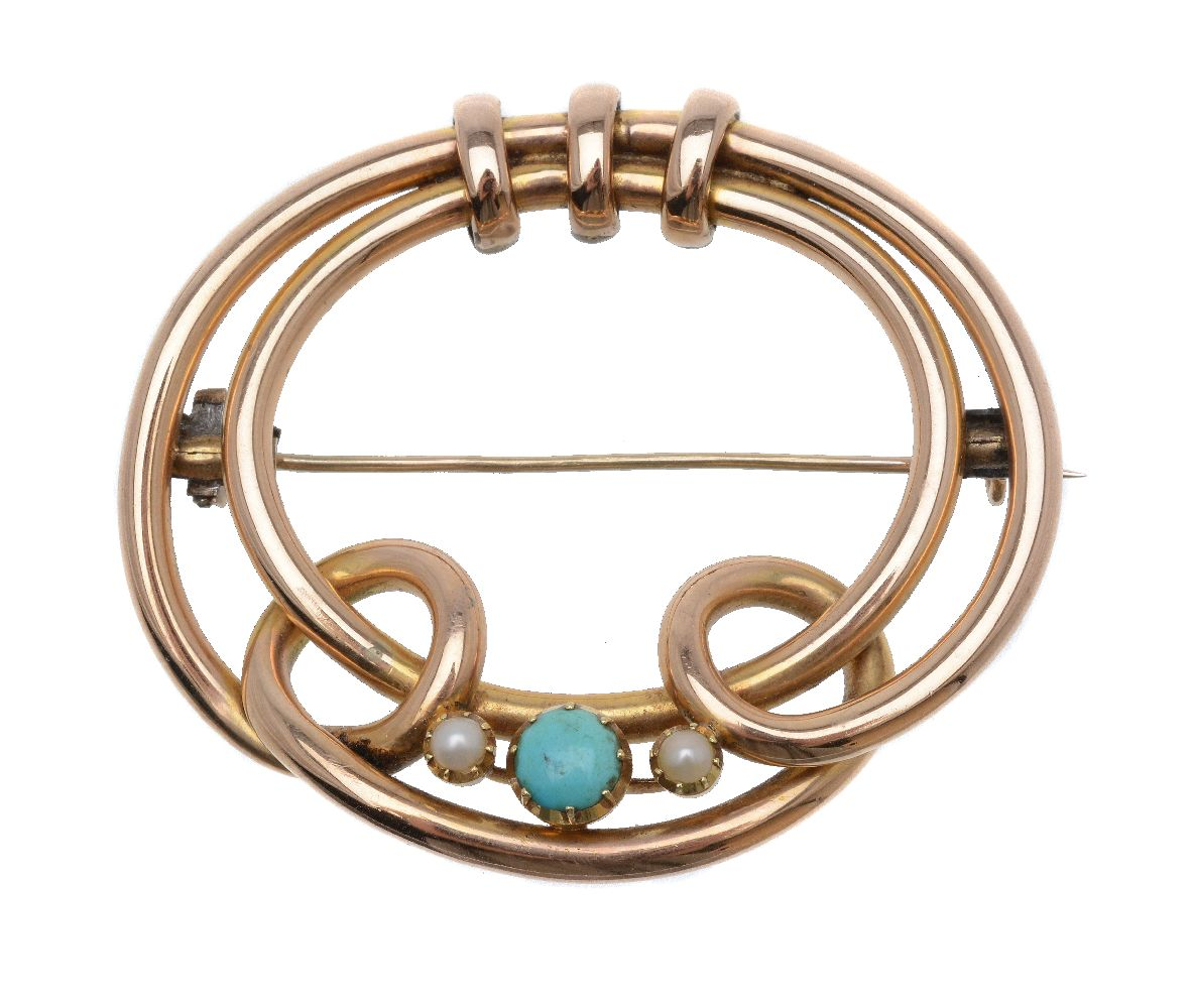 Lot 13 - An early 20th century hooped turquoise and half pearl brooch