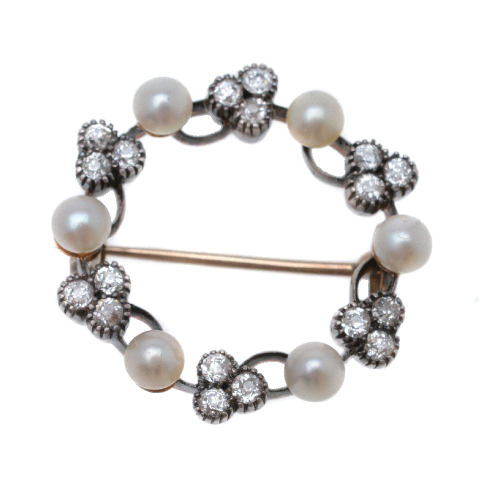Lot 30 - A late Victorian diamond and pearl hoop brooch