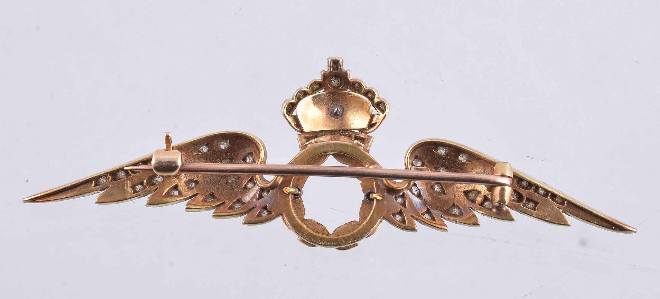 Lot 36 - A mid 20th century diamond set RAF sweetheart brooch