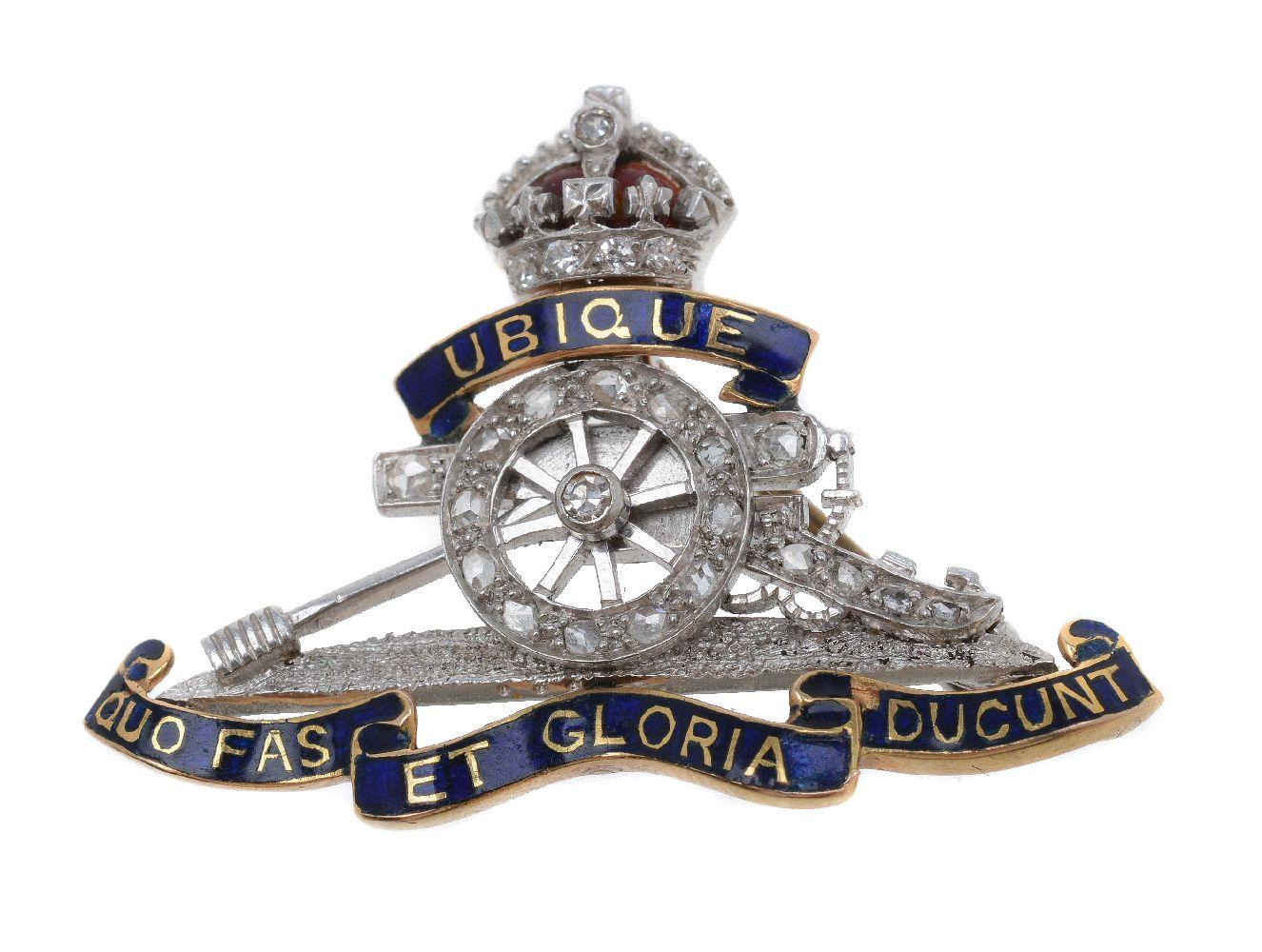Lot 37 - A mid 20th century Royal Artillery diamond set sweetheart brooch