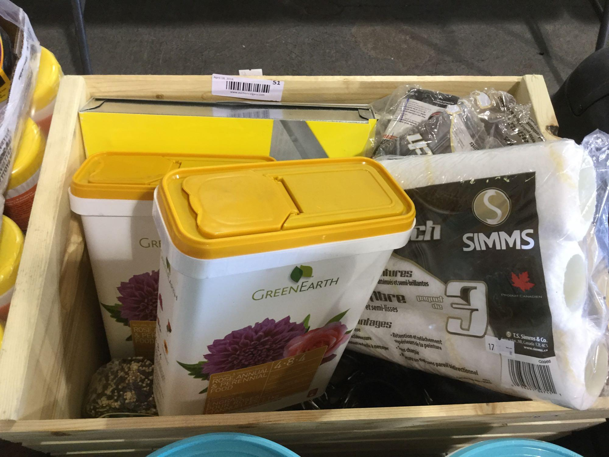 Lot 51 - Wood bin of indoor and outdoor Home Care Items