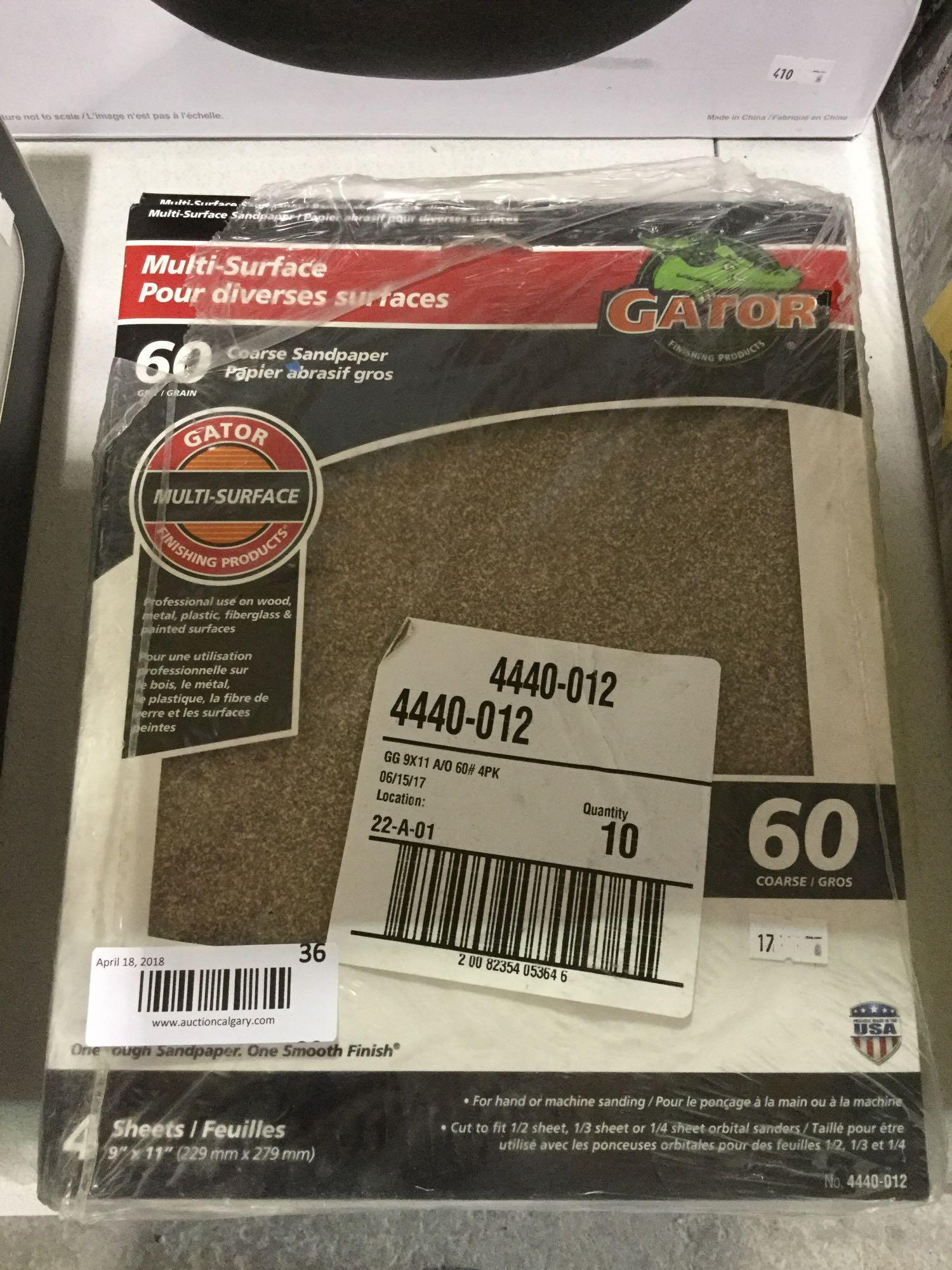 Lot 36 - Gator Multi-surface 60 Grain Coarse Sandpaper - 9 x 4 sheets