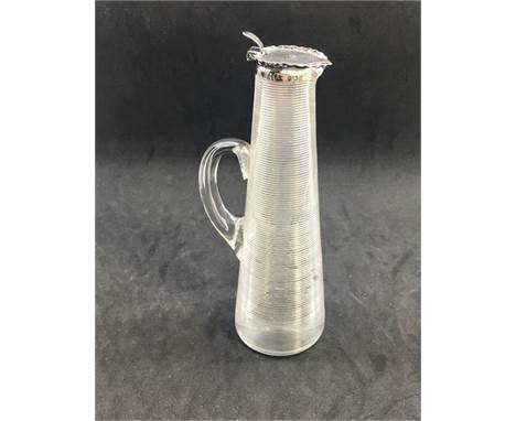 Antique glass and Silver tall whisky noggin