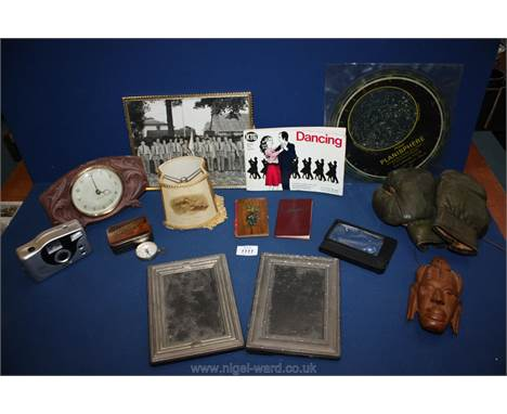 A quantity of miscellanea including old wooden Westclox clock, pair of children's boxing gloves, two plated frames, small woo