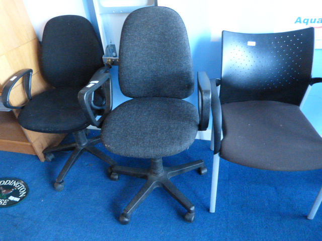 Lot 24 - *Two Upholstered Office Chairs and a Another Chair