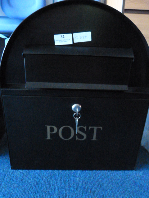Lot 32 - *Dome Topped Black Metal Postbox