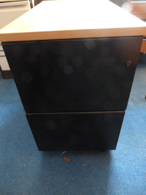 Lot 47 - *Black Metal Two Drawer Filing Cabinet with Wood E