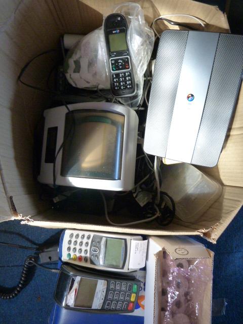 Lot 17 - *Box Containing Card Machines, Receipt Rolls, Vari
