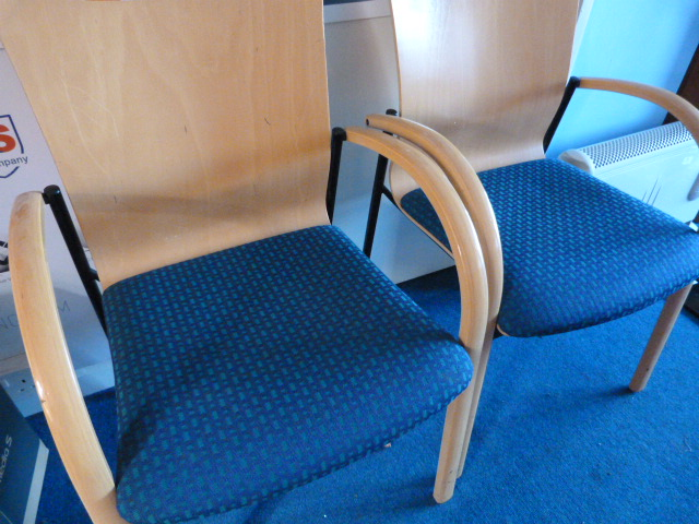 Lot 19 - *Pair of Wood & Metal Framed Office Chairs with Pl