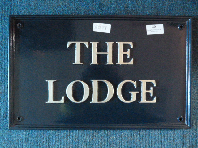 Lot 39 - *Metal House Sign - The Lodge