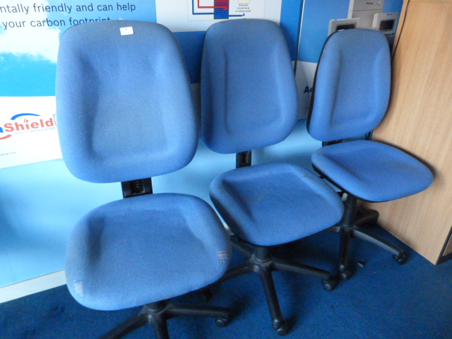 Lot 4 - *Three Blue Upholstered Office Chairs