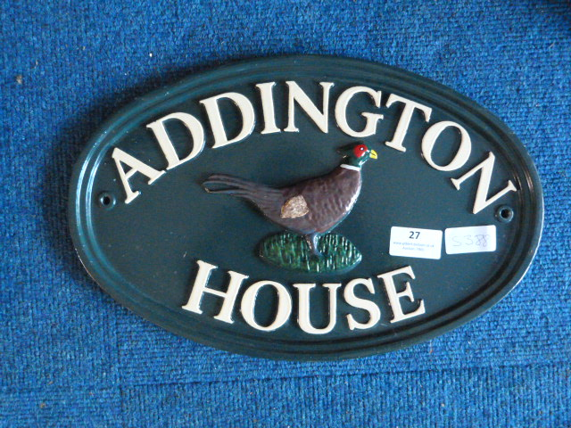 "Lot 27 - *Metal House Sign ""Addington House"""