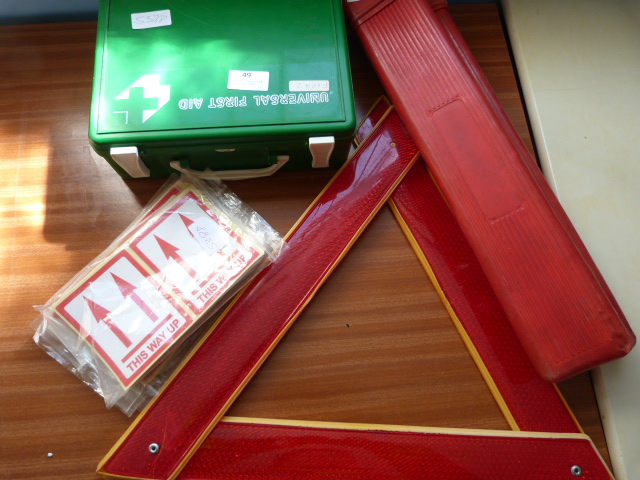 Lot 49 - *First Aid Kit, Two Reflective Warning Triangles a