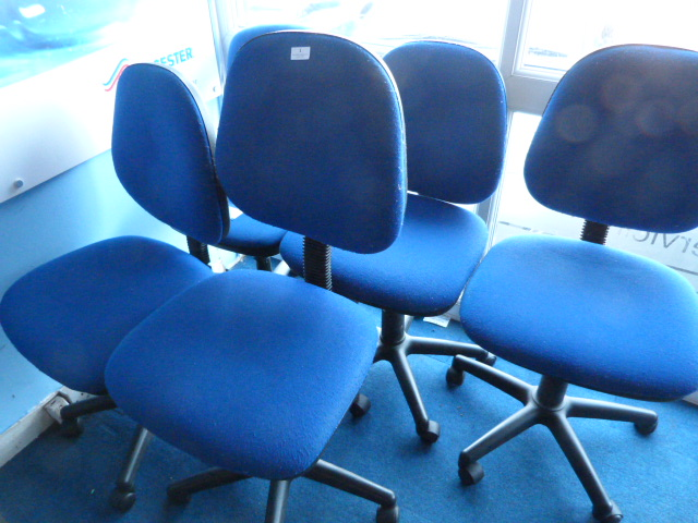 Lot 1 - *Five Blue Upholstered Office Chairs