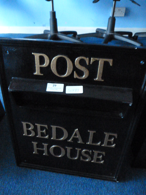 Lot 29 - *Black Metal Letter Box - Post Beadale House